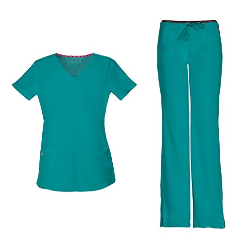 HeartSoul Women's Pitter-Pat Shaped V-Neck Scrub Top 20710 & Heartbreaker Heart Soul Drawstring Scrub Pants 20110 Medical Scrub Set (Teal - Medium/Large) ()