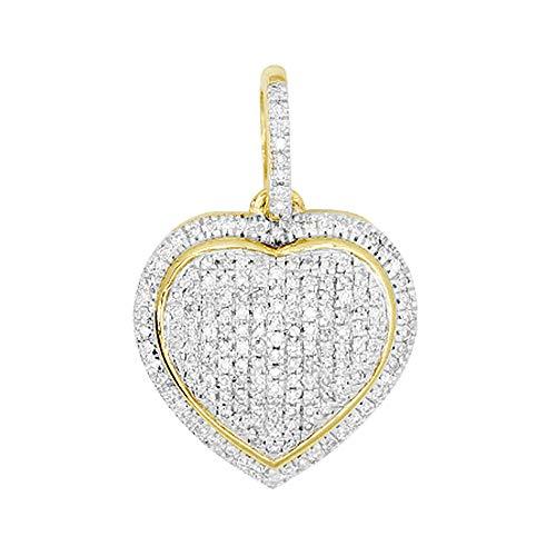 14K Yellow Gold 0.25 Ct Round Cut Natural Diamond Pave Heart Pendant Necklace For Women's 14k Pave Diamond Heart Pendant