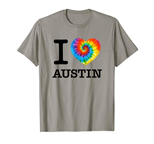 Official I Love Austin T-Shirt,Tie Dye Psychedelic Heart -