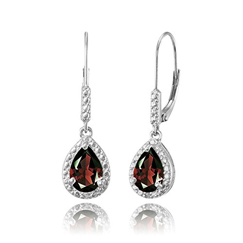 Sterling Silver Garnet Teardrop Dangle Leverback (Garnet Pear Earrings)