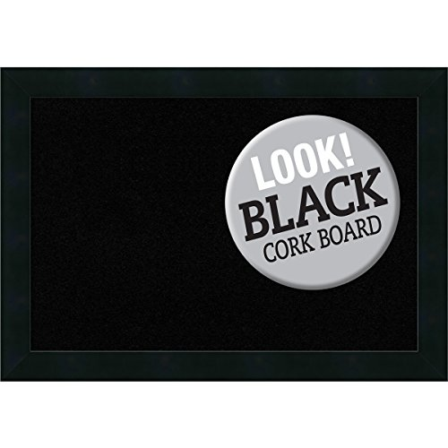 Amanti Art Framed Wood Black Cork Board, Small, Mezzanotte Black by Amanti Art