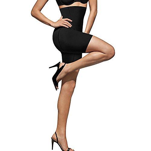 Bali Women's Shapewear Cool Comfort Hi-Waist Thigh Slimmer, Black, Medium
