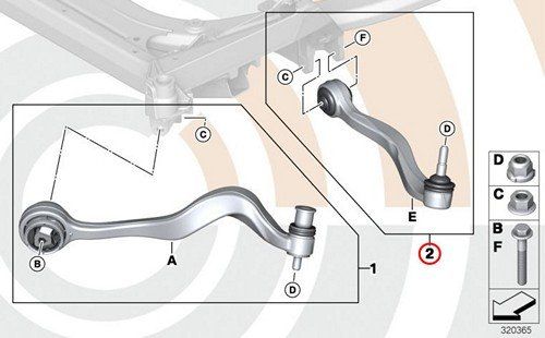 BMW Genuine Control Arm Wishbone Left Repair Kit E63 E63N E64 E64N E65 E66 645Ci 650i M6 650i 645Ci 650i M6 650i 745i 760i 745Li 760Li ()
