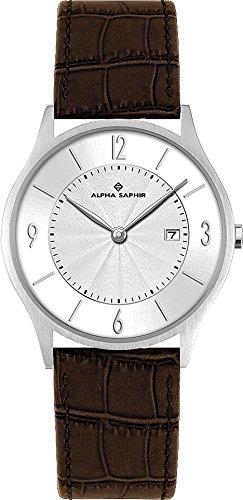 Alpha Saphir 335B - Reloj de caballero de cuarzo, correa de piel color marrón: Amazon.es: Relojes