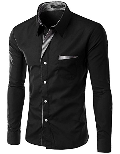TUNEVUSE Men's Slim Fit Shirts Long Sleeve Business Dress Shirt US Small/Asian X-Large Black