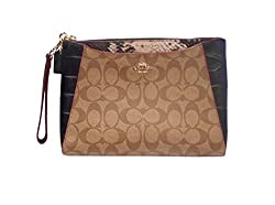 Coach Signature Exotic Mix Morgan Clutch, Imitation Snake, Khaki, Black