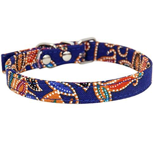 12' Dog Leash Camo - Aokarry Pet Dog Alloy Cloth Basic Collars Retro Pattern Blue-M