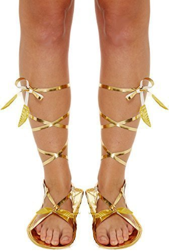 Ladies Gold Roman Greek Gladiator Tie Fancy Dress Costume Outfit Flat Sandals Shoes Accessory