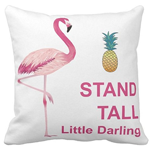 Kissenday 18X18 Inch Stand Tall Little Darling Watercolor Flamingo Quote Cotton Polyester Decorative Home Decor Sofa Couch Desk Chair Bedroom Car Birthday Gift Cute Saying Square Throw Pillow Case