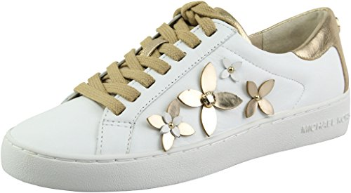 MICHAEL Michael Kors Women's Floral Lola Optic White/Plate Gold Embellished Sneakers 9.5 B US Women