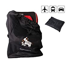 T Tocas Durable Polyester Travel Bag with Backpack Straps for Kid Stroller Car Seat Pushchair Booster Wheelchairs Air Flight Gate Check, Black