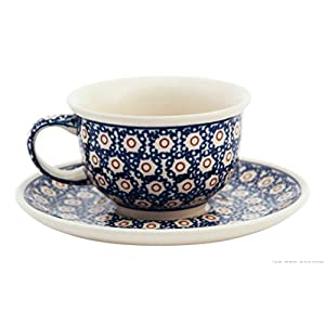 Bunzlauer Ceramic Coffee Cup with Saucer 200 ml in Retro Design Set of 4 Stoneware