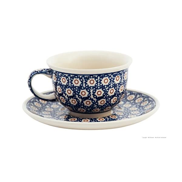 Bunzlauer Ceramic Coffee Cup with Saucer 200 ml in Retro Design Set of 4 Stoneware