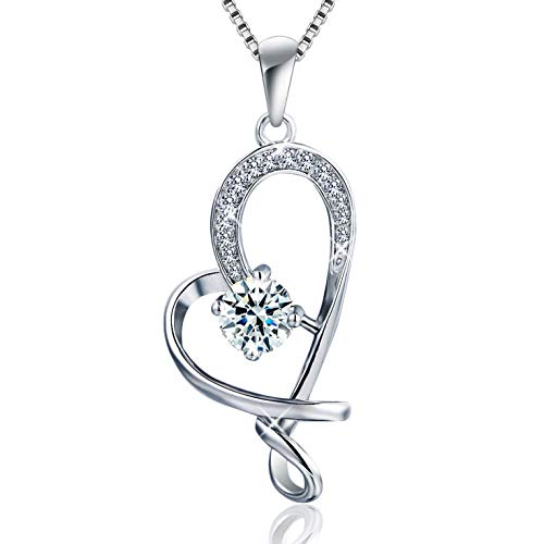 One Love Heart Necklace - BLOVIN 925 Sterling Silver Love Knot Heart Pendant Necklace 18
