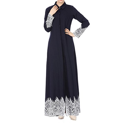 Women's Muslim Kaftan Lace Trimmed Button Down Shirt Dubai Islamic Abaya Maxi Cardigan (Navy, L)