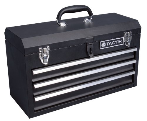 Tactix 321102 3 Drawer Steel Portable Tool Box, 52cm by Tactix