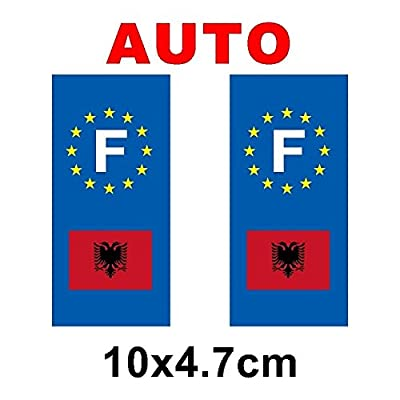 Autocollant plaque immatriculation moto drapeau albanie