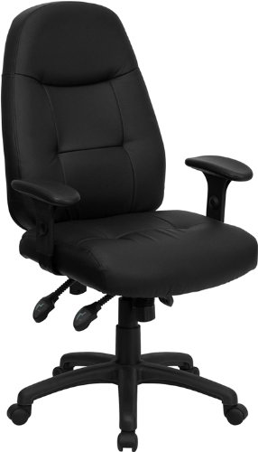 Flash Furniture High Back Black Leather Multifunction Executive Swivel Chair with Adjustable Arms by Flash Furniture