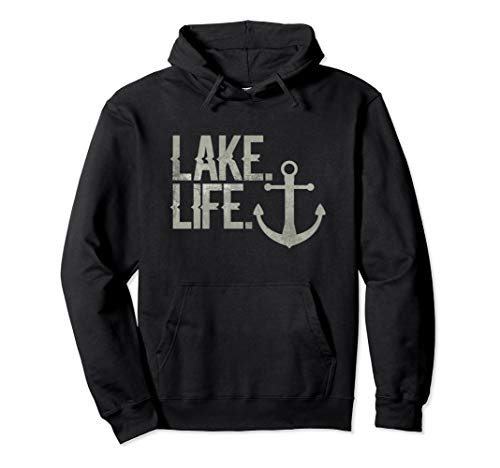 Lake Life Hoodie Nautical Themed Anchor Hooded Sweatshirt ()