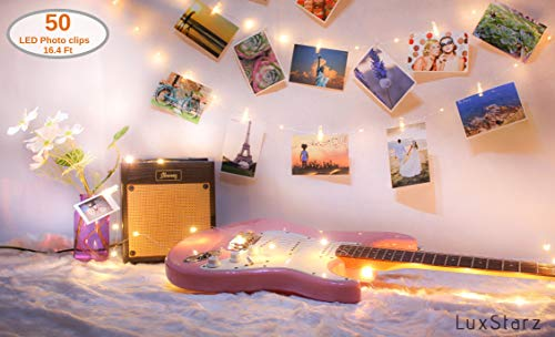 Photo Clip String Lights 50 LED Lights for Bedroom Light Decor Picture Hanging Decoration with Decorative Mini Clip Clothespins Photo Lights Hang Artwork Wall Indoor Warm Fairy Light Battery Operated (Decoraciones De Cuartos)