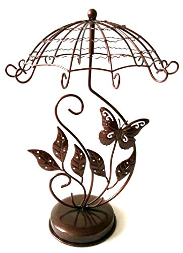 Butterfly Carousel Jewelry Tree Spinning Handmade Metal Stand, Necklace + Earring Holder, Bracelet, Watch, & Ring Display Organizer For Girls + Women (Copper or Black) - Carousel Necklace