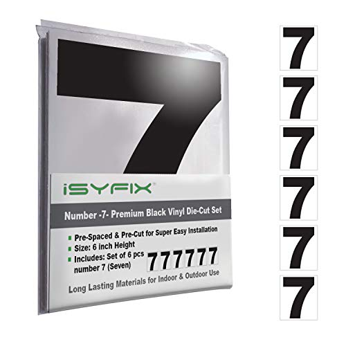Black Vinyl Number 7 (Seven) Stickers - 6 Pack 6-Inch Self Adhesive - Premium Decal Die Cut & Pre-Spaced for Mailbox, Signs, Window, Door, Cars, Trucks, Home, Business, Address Number, in & Outdoor