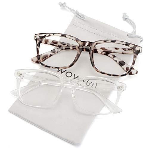 (WOWSUN Non Prescription Glasses for Women Men,Clear Lens Eyeglasses Fashion Nerd Optical Frames Fake Eye Glasses 2 PACK Leopard Clear Frame)
