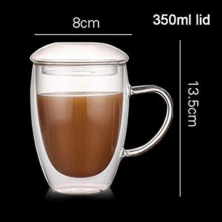 per caff/è t/è con Manico Latte Trasparenti Resistenti alle Alte Temperature 260ml Succo di Frutta Gelentea Spessi Bicchieri isolati a Doppia Parete con Coperchio