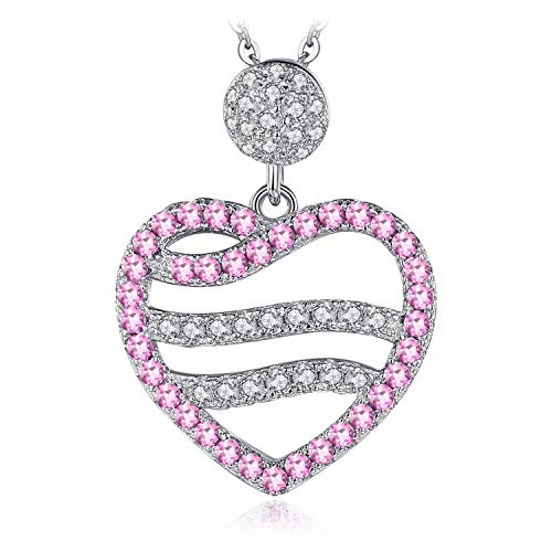 JewelryPalace Created Pink Sapphire Ocean Wave Heart Pendant 925 Sterling ()
