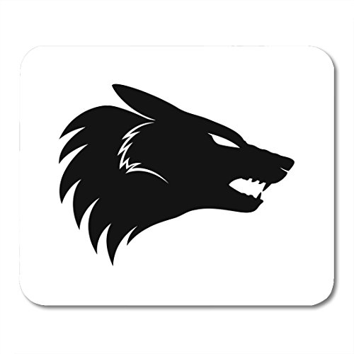 Boszina Mouse pad Abstract Heraldic Wolf Black Sign Silhouette Animal Office Supplies mouses pad 9.5x7.9 Inches - Tattoo Power Icon Supply