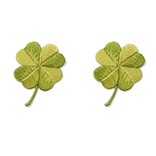 YOUOR 2 Pcs Green Leaf Embroidered Patches Four Leaf Clover Lucky Irish Shamrock Emblem Iron On or Sew On Patches (Four Leaf)