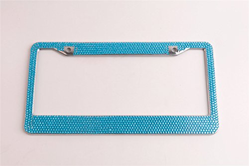 Tokept Blue Bling Rhinestones License Plate Frame for Women with 2 Hole(Pack of 1)