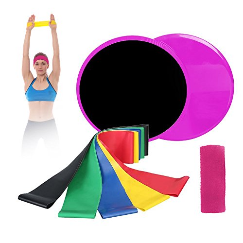 Mizzuco Resistance Bands with Gliding Discs, Exercise Resistance Bands, 5 Level Natural Latex Workout Bands and Core Exercise Sliders for Fitness