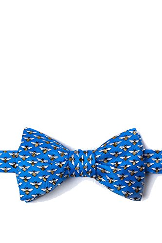 - Yellow Bees Bee on Blue Background Freestyle Self Tie Bowtie Bow Tie neckwear