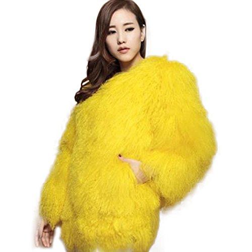 Manka Vesa Fur Coat Real Mongolian Lamb Fur Long Sleeve Waistcoat Jacket Outwear Yellow