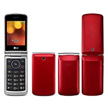 "LG Flip Phone Senior Unlocked GSM Only 2G G360 Dual Sim Duos Mp3 Camera BIG BUTTONS Facebook Twitter LCD 3.0"" Bluetooth Factory Desbloqueados (Red)"