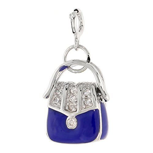 Sterling Silver Jeweled Purse Pendant, Blue Enamel, w/ CZ Stones, 3/4 inch (21 mm) Blue Enamel Purse Pendant