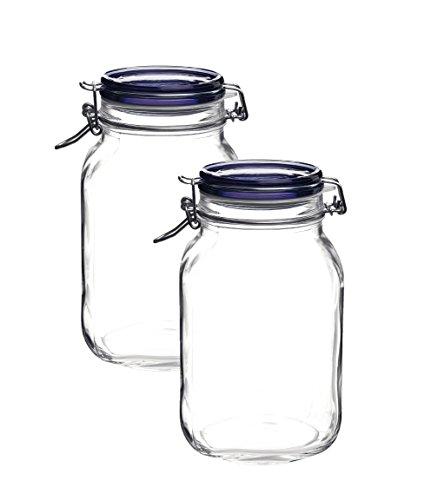 Blue Compote - Bormioli Rocco Fido Square Jar with Blue Lid, 67-3/4-Ounce (2)