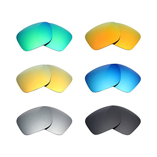 Mryok 6 Pair Polarized Replacement Lenses for Oakley Holbrook Sunglass - Stealth Black/Fire Red/Ice Blue/Silver Titanium/Emerald Green/24K Gold by Mryok