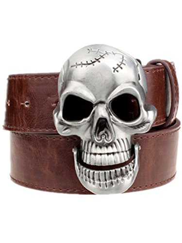 Moolecole Fashion Men Skull Head Leather Buckle Belt Waist Band Jeans Decorative Punk Belt Coffee
