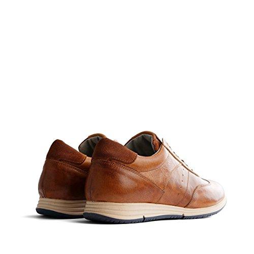 Travelin Harwich Leather Sneaker Men | Schnürhalbschuhe Herren | Halbschuhe Sneakers | Freizeitschuhe Sportschuhe | Leder Cognac 41 EU