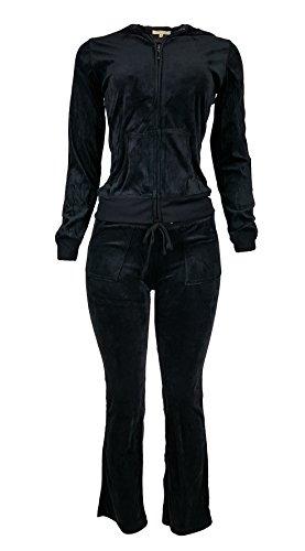 Plus Size Velour Suit - Women's Lightweight Hoodie & Sweatpants Velour Suit 2 Piece Loungewear Set (S-3XL) XXX-Large Black