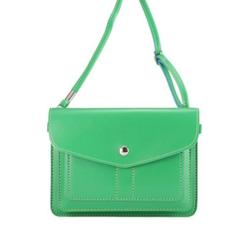 PU Leather Universal Horizontal Cellphone Pouch Bag with Shoulder Strap and Magnetic Button for Apple iPhone Samsung Galaxy and Other Smartphone Green