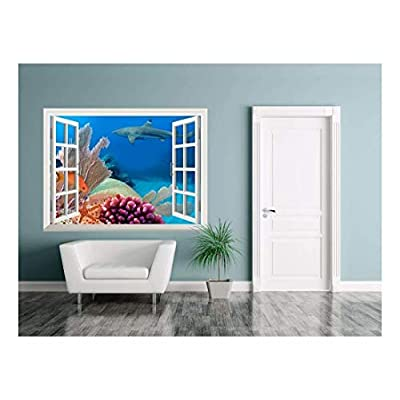 Grand Handicraft, Removable Wall Sticker Wall Mural Beautiful Scenery of a Coral Colony in Red Sea Creative Window View Wall Decor, Crafted to Perfection