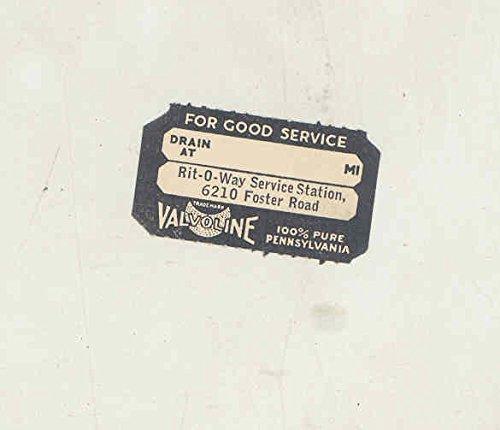 1930's Valvoline Gas Company Original Vintage Oil Change Sticker Portland from Valvoline