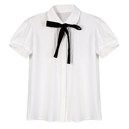 Etosell Lady Bowknot Baby Peter Pan Collar Shirt Womens Long Sleeve OL Button-Down Shirts White Blouses (M/US6/UK8/EU36, White Short Sleeve)