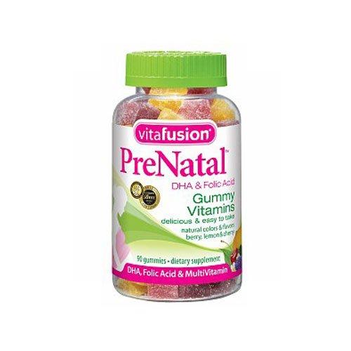 Vitafusion Prenatal DHA and Folic Acid Gummy Vitamins, Berry Leamon and Cherry - 90 Ea (Pack of 3)