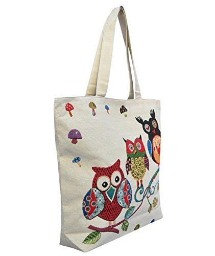 Borsetta borsa da spiaggia, shopping, importata da Tailandia, multicolore, motivi Gufi (42281)