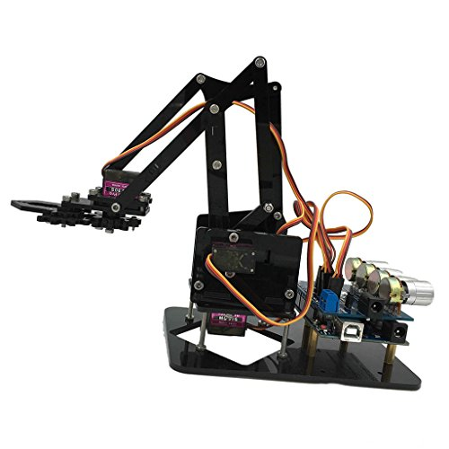 Baoblaze DIY Assembled Acrylic Robot 4-Dof Robot Mechanical Arm For Arduino Learning Kits Intelligence Toy