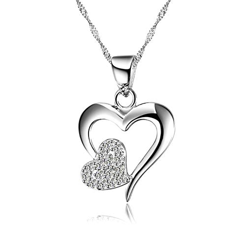 Topdo 1 Pcs Elegant Women Necklace Silver Heart to Heart Interlocking-Pendant Lovers Diamond Wedding Jewelry Gifts Valentine's Party Birthday Anniversary Christmas New Year's Day